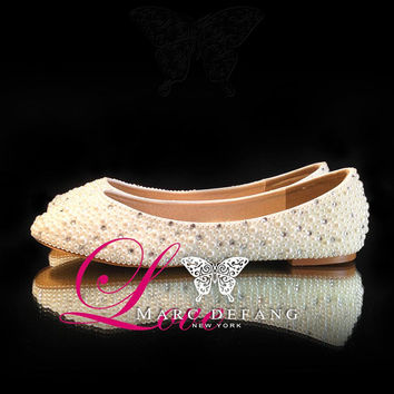Ivory Pearl Clear Crystal Mixed Luxury Bridal Flats