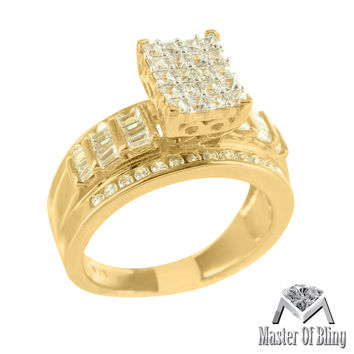 Ladies Sterling Silver Yellow Gold Finish Baguette Lab Diamond Bridal Ring