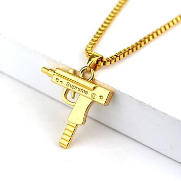 ca qiyif Fashion Hip Hop Jewelry Engraved Letter Gun Necklace 65cm Long Chain Supreme Quality Pendant Necklaces HipHop For Men Women Gift