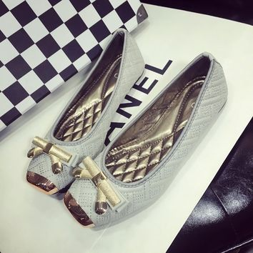 square toe bow pattern flat woman shoes