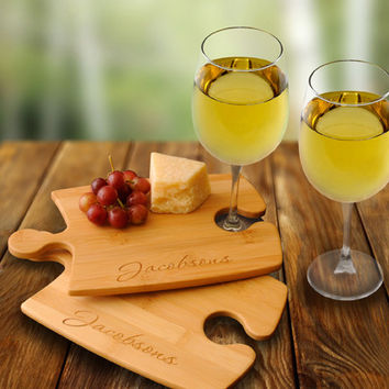 Personalize a Bamboo Puzzle Cutting Board Set with 2 Wine Glasses