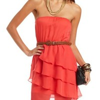 Belted Tiered Chiffon Tube Dress: Charlotte Russe