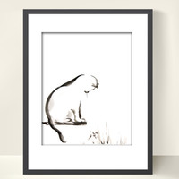 Minimalist Cat - Watercolor Painting Art Print - Black and White - Cat Art - Kitten - Modern - Minimalist - Wall Decor