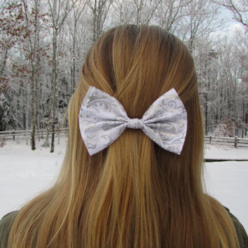 Elegant White Snow Winter Holiday Hair Bow