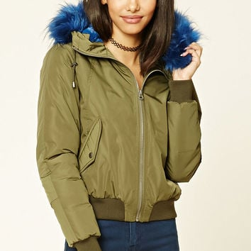 Faux Fur-Trimmed Bomber Jacket