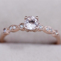 Deposite Payment --VS 6mm Round Morganite Ring Diamonds Ring 14K Rose Gold Wedding Ring Engagement Ring