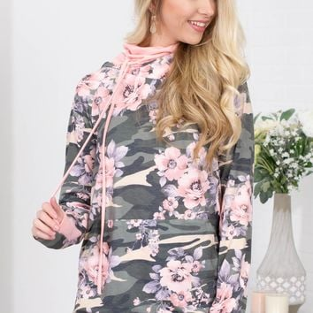 Floral Pink Camouflage Hoody