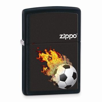 Zippo Soccer Black Matte Lighter - Engravable Personalized Gift Item