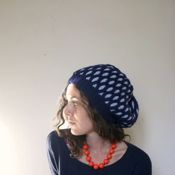 Knit Hat - Slouchy Geometric Diamond  - Navy & Ice Blue