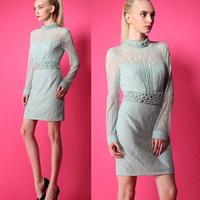 Floral Embroidery Sheer Mesh Beaded Collar and Belt Long Sleeve Sheath Dress