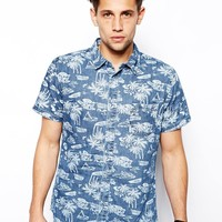 Pull&Bear Denim Shirt with Palm Tree Print