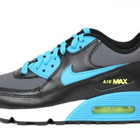 Nike Youth's Air Max 90 LTR GS Black/Blue Shoes 724821 004
