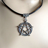 Black Leather Sliver Pentagram, Pentacle Charm Choker/ Necklace by Rebeltude