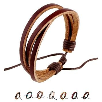 Jamaica Reggae Brown Warp Leather Rope Bracelets - 9 Colors
