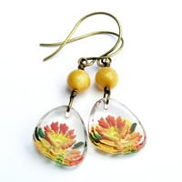 Vintage Tropical Flower Earrings