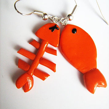Fish Bone Dangle Earrings Polymer Clay by HandMadeBox on Etsy
