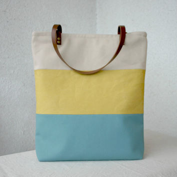 Colorblock Canvas Urban Large Tote bag Stripes Leather handles Summer Tote
