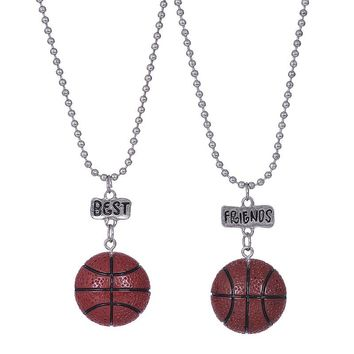 """2PCS/Lot """"Best Friend"""" Cute Basketball Kid Necklaces Kid 3-D Imitation Necklace For Children Jewelry, Birthday Gift"""