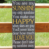 You Are My Sunshine Subway Typography Word Art Wooden Sign Nursery