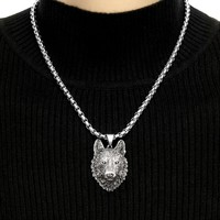 Tribal Wolf Head Pendant on 5mm Rounded Box Chain with 5 Length Options