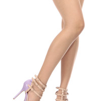 Lilac Faux Patent Leather Studded Pointed Toe Single Sole Heels