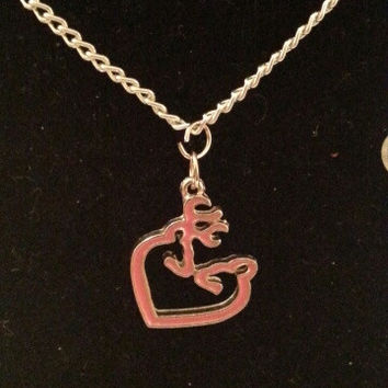 Pink browning buck and doe kissing heart style necklace, earrings,  key ring, set jewelry