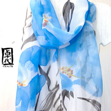 Blue Silk Scarf, Large Silk Scarf, Hand Painted Blue Sumi Primroses Floral Scarf. Silk Chiffon Scarf. 13x69 in. Made to order.