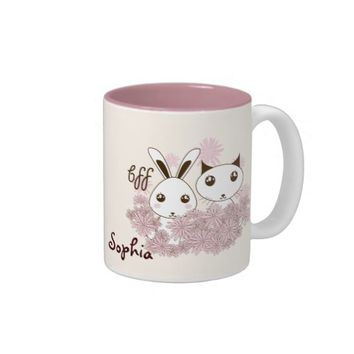 BFF - Best Friends Forever Cute Animal Kids Ivory Two-Tone Coffee Mug