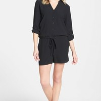 Women's Eileen Fisher Mandarin Collar Silk Romper (Online Only)