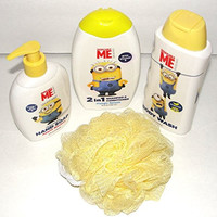 Despicable ME Minion Made Body Wash + Hand Soap + 2 'N' 1 Shampoo & Conditioner + Sponge Girls & Boys Gift Pack Bundle
