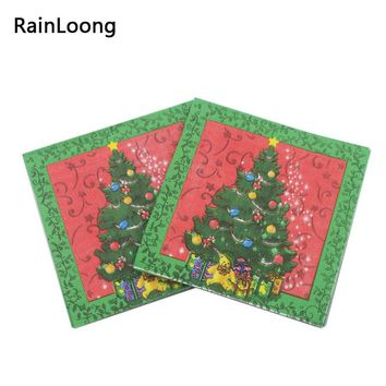 [RainLoong] Christmas Tree Printed Paper Napkin Festive & Party Tissue Napkin Supply Decoration Decoupage Paper 20pcs/pack/lot