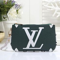 LV Louis Vuitton Popular Women Tote Clutch Bag Zipper Wallet Green