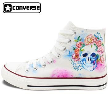 Hand Painted Converse Shoes for Women Men Custom Design Skull Colorful Flowers White S