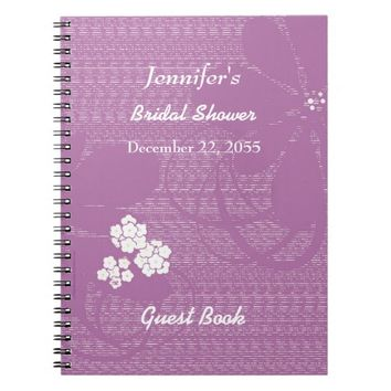 Bridal Shower Guest Book Purple, White Floral