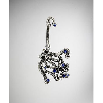 14 Guage Blue Gem Octopus Belly Ring - Spencer's