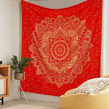 Gold on Red Mandala Boho Bohemian Wall Tapestry