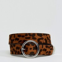 ASOS Leopard Tipped End Circle Buckle Jeans Belt at asos.com
