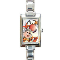Tigger and Eeyore on a Rectangular Silver Italian Charm Watch ..NEW
