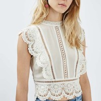 Sleeveless Crochet Blouse - Tops - Clothing