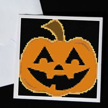 Funny Happy Pumpkin Halloween Cross Stitch Pattern