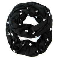 Hipster Scarf Skull Infinity Scarf Teen Fashion Scarf Sword Scarf Trendy Fashion Scarf Black Cute Teen Gift Ready To Ship
