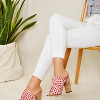 Gingham Detail Red & White Chunky Heeled Mules