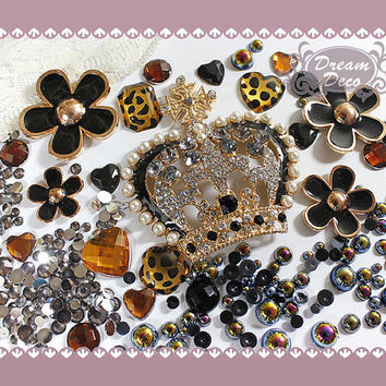 Bling Decoden Deco Kit set DIY Cabochon Black & Gold by DreamDeco
