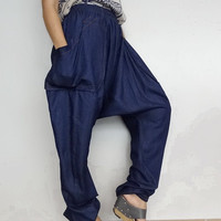 Long Trouser Drop crotch unisex harem pants unique denim lightweight (pants03).