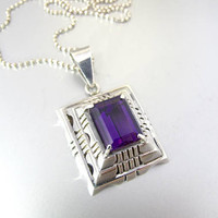 Sterling Silver Amethyst Pendant Slide. Large Southwestern Layered Purple Amethyst Pendant Necklace. February Birthstone Jewelry.  39 Grams