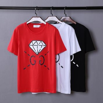 ca qiyif GG Diamond letters print men / women fashion cotton t-shirt