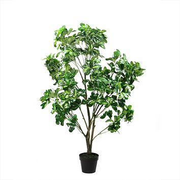 "51"" Decorative Potted Artificial Two Tone Green Scheffera Plant Tree"