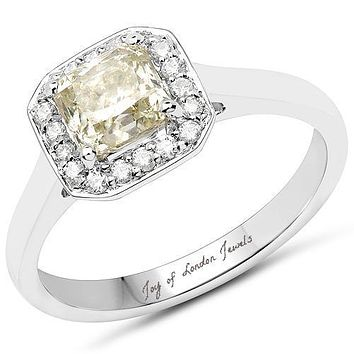 Earth Mined 18K White Gold 1.27TCW Cushion Cut Genuine Canary Yellow Diamond and White Diamond Ring