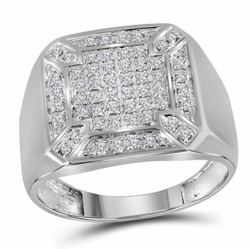 10kt White Gold Mens Round Diamond Square Cluster Ring 1/3 Cttw