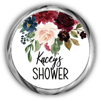 Navy Marsala Bridal Shower Kisses Stickers